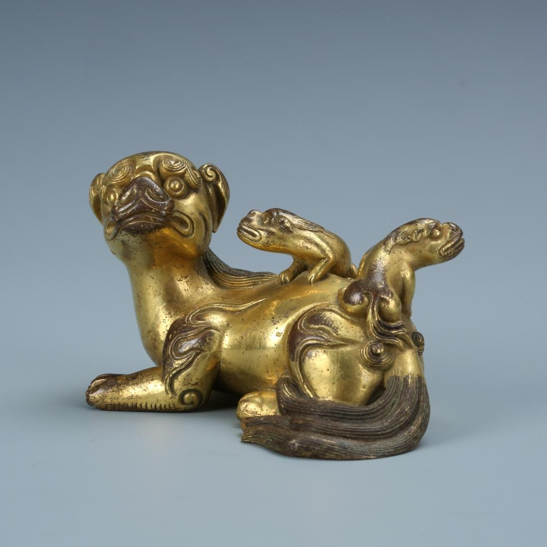 Gilt Bronze Lion with Young - 2