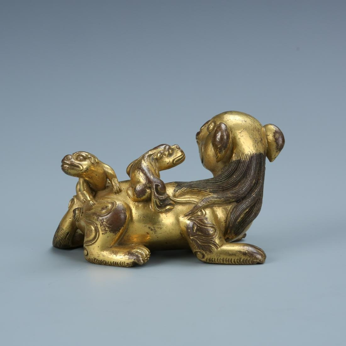 Gilt Bronze Lion with Young - 3