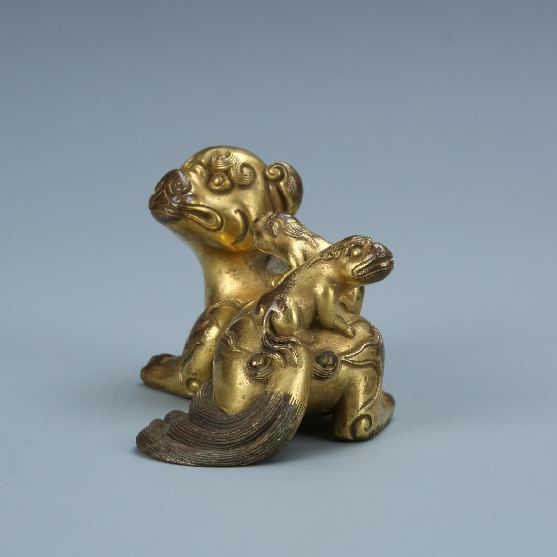 Gilt Bronze Lion with Young - 4