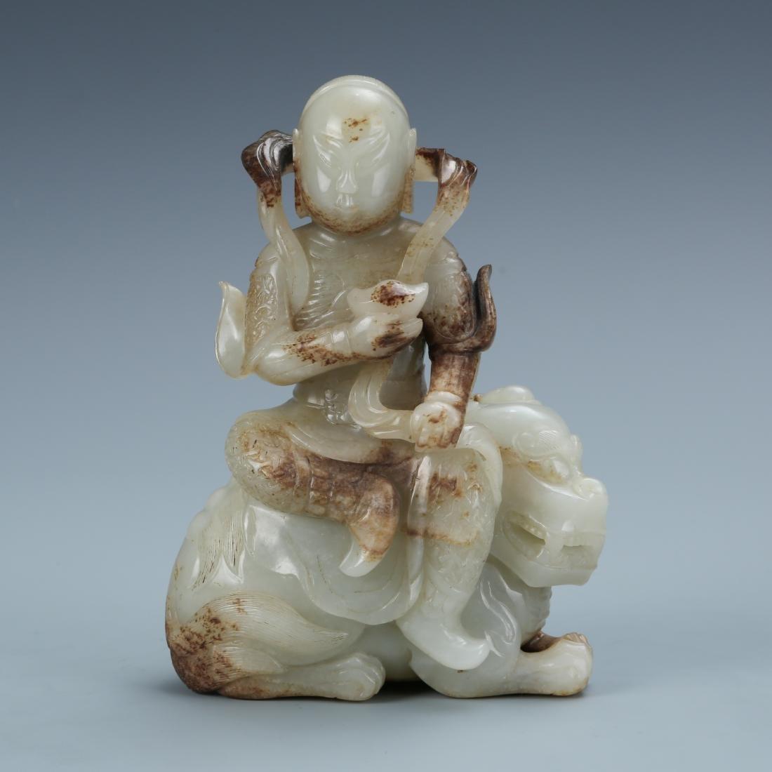 Jade Figure Sitting on Mythical Beast
