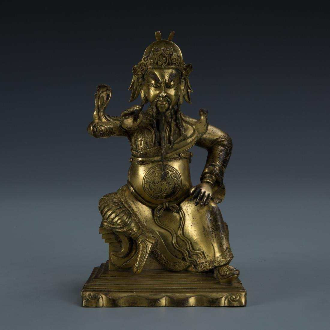 Gilt Bronze Figure of Seated Guandi