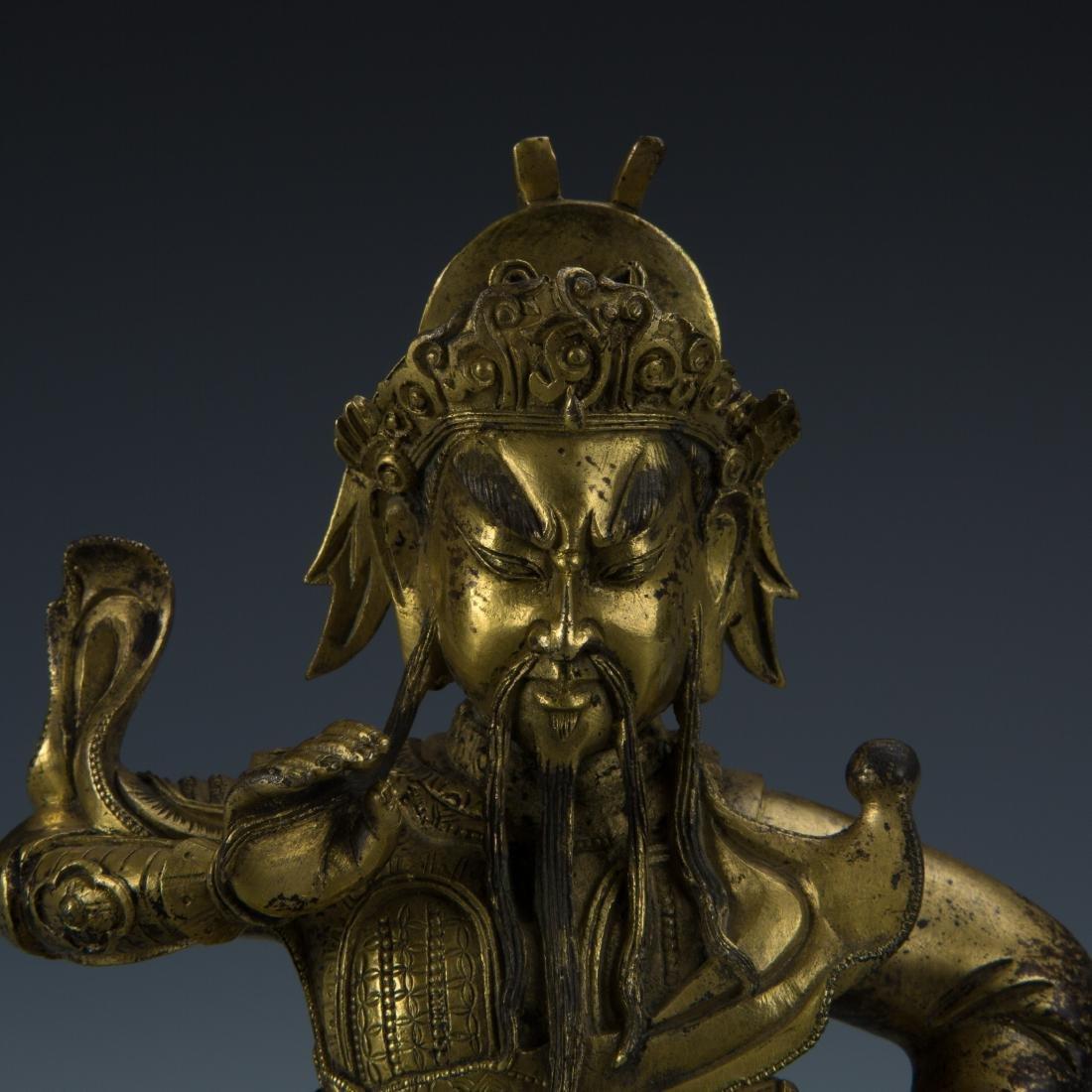 Gilt Bronze Figure of Seated Guandi - 2
