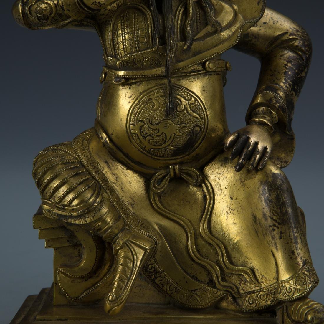 Gilt Bronze Figure of Seated Guandi - 3