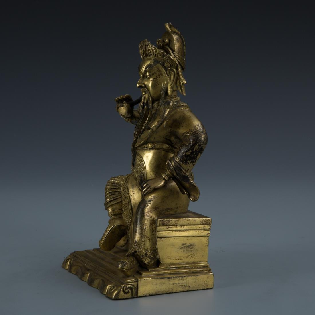 Gilt Bronze Figure of Seated Guandi - 4