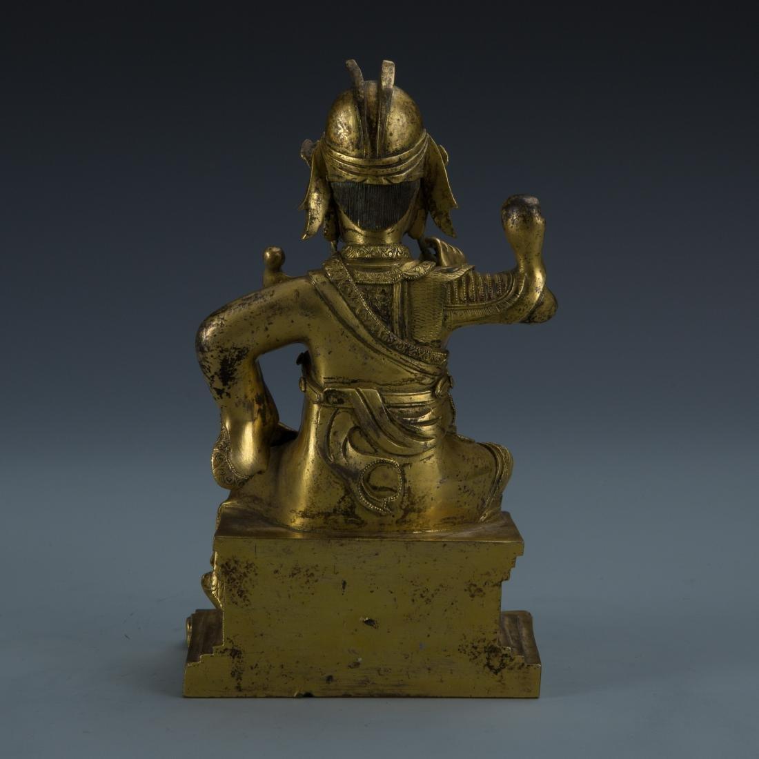 Gilt Bronze Figure of Seated Guandi - 5