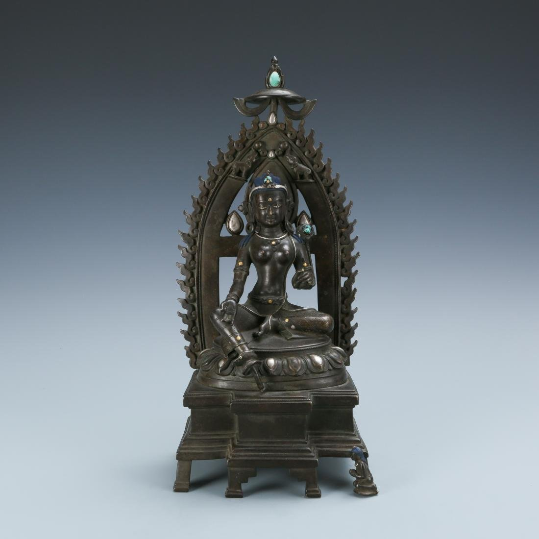 Bronze Figure of Tara with Inlay Silver Gold &Stones