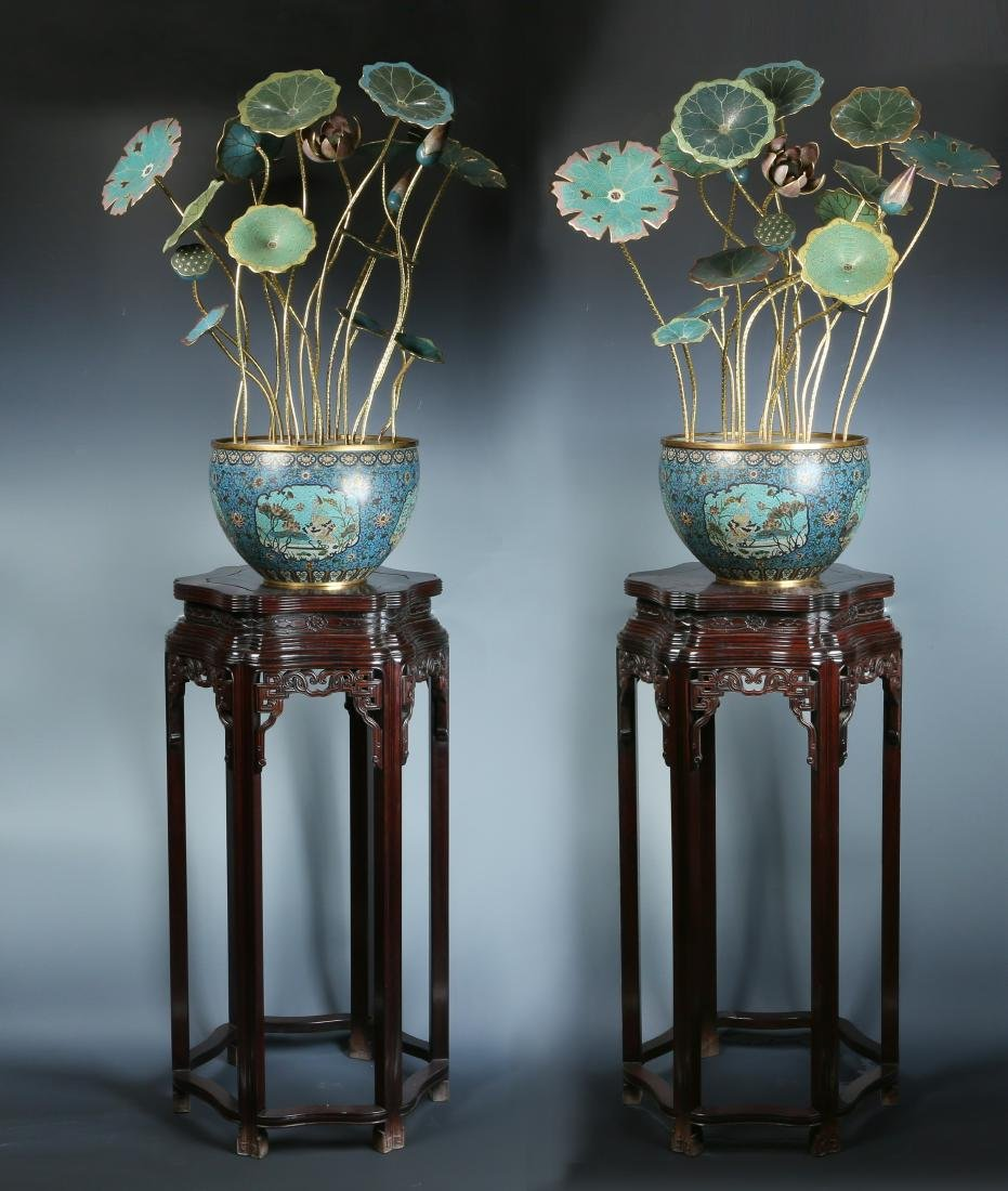 Very Rare Pair of Cloisonne and Gilt Lotus in Planters