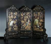 Three Embroidered 'Birds and Flower'Panel With Rosewood
