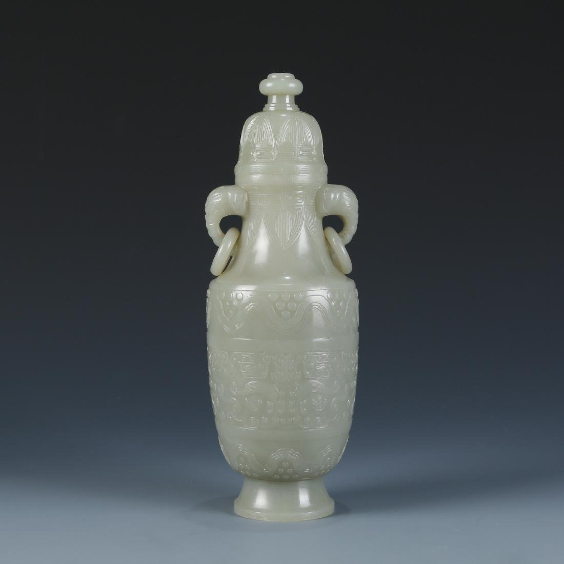 Carved White Jade Vase