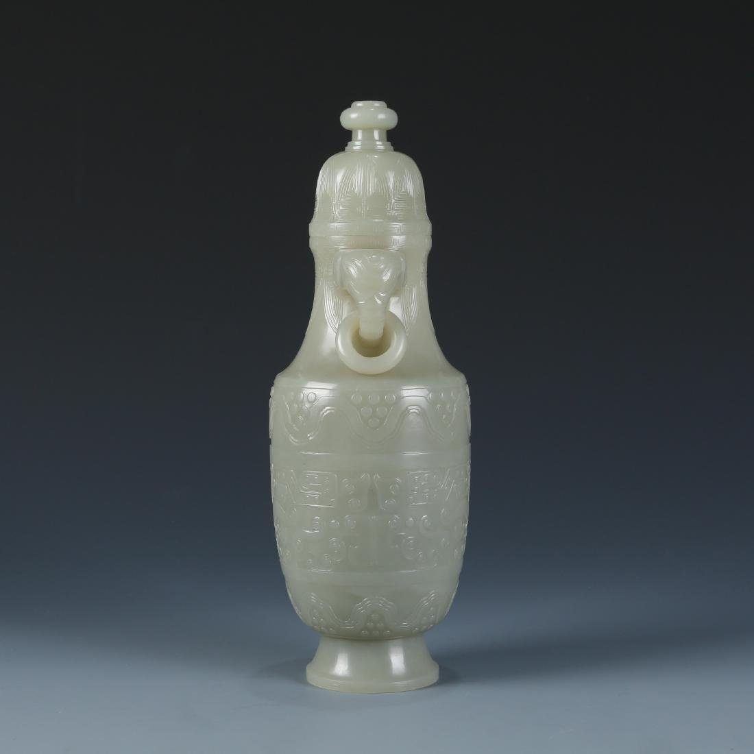 Carved White Jade Vase - 5