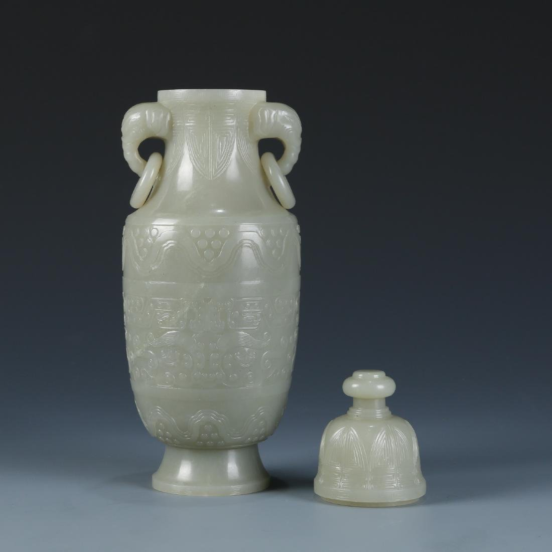 Carved White Jade Vase - 7