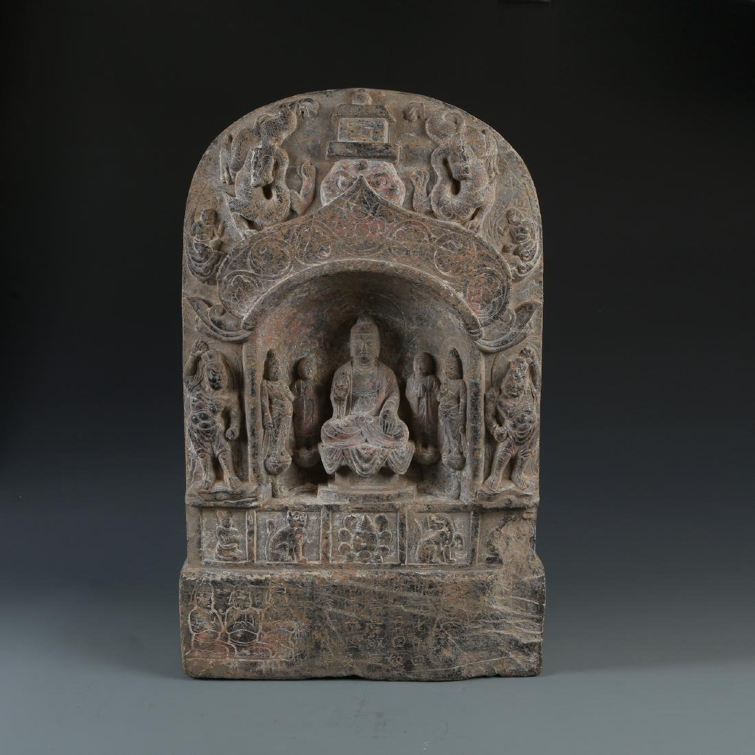 Carved Stone Stele of Buddha