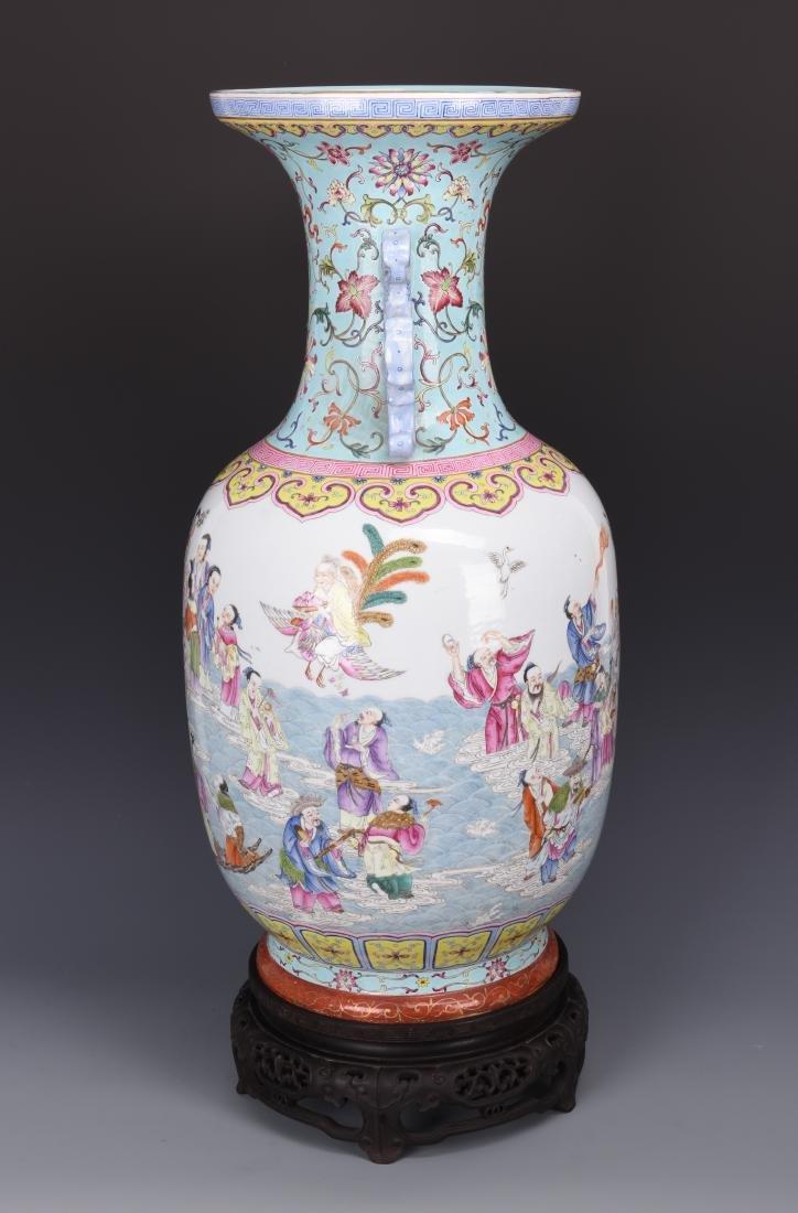 Famille Rose Porcelain  Vase with Mark - 14