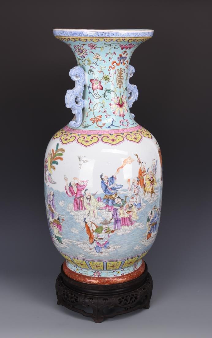 Famille Rose Porcelain  Vase with Mark - 15