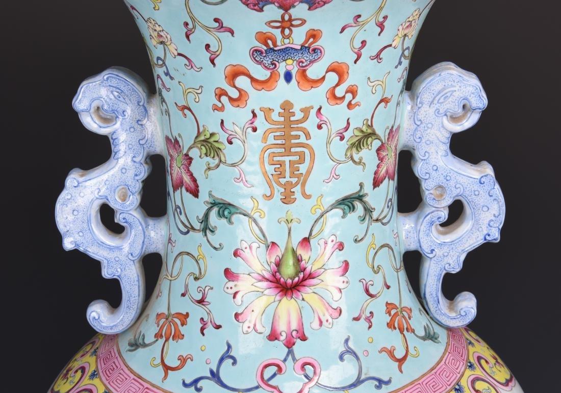 Famille Rose Porcelain  Vase with Mark - 17