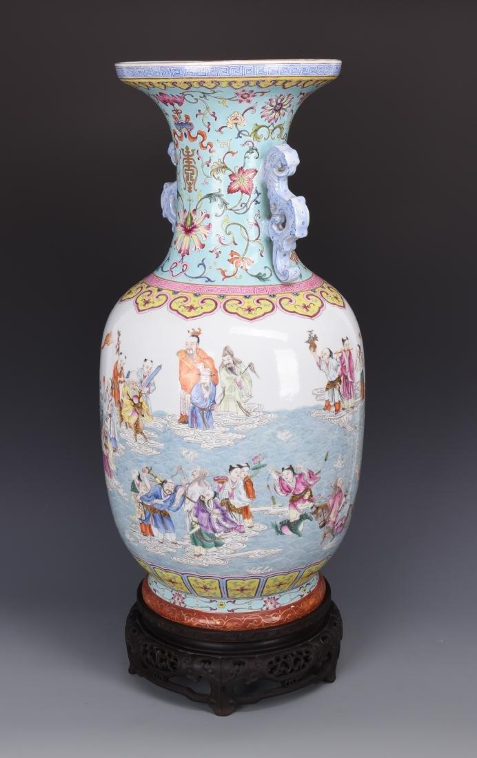 Famille Rose Porcelain  Vase with Mark - 18
