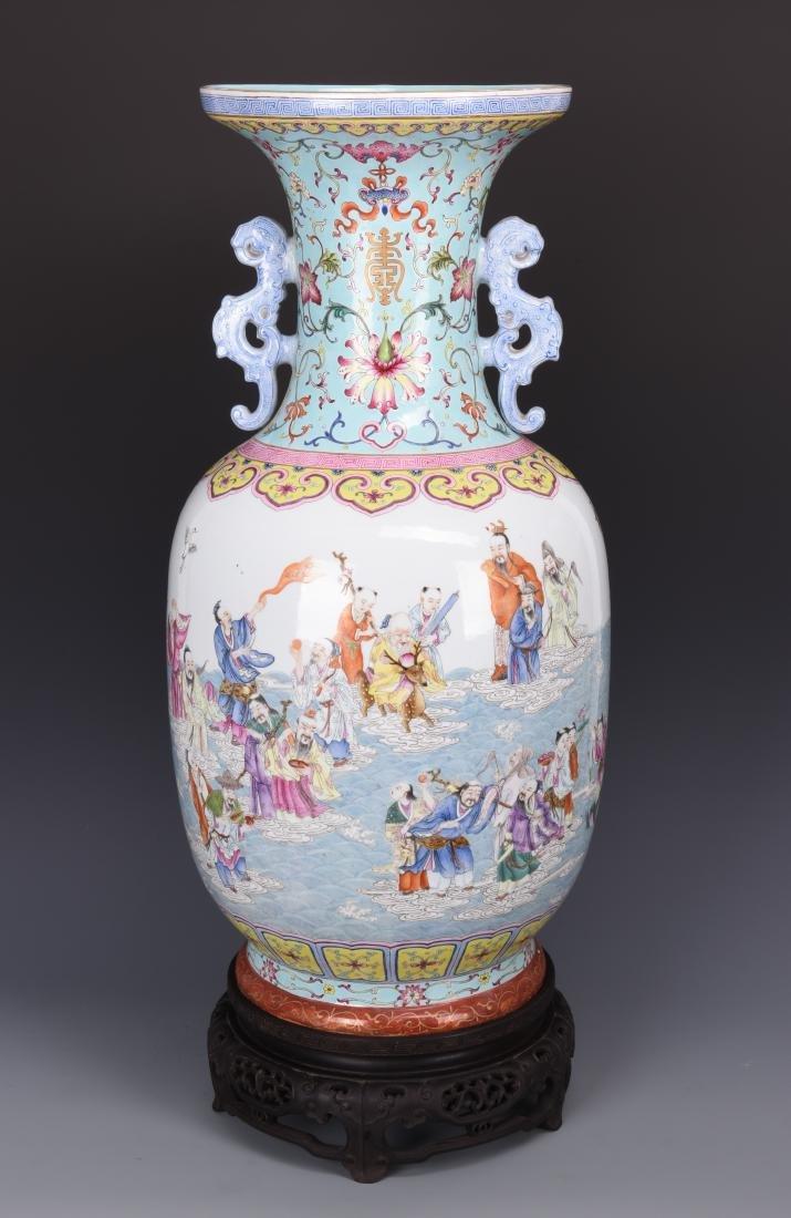Famille Rose Porcelain  Vase with Mark - 2