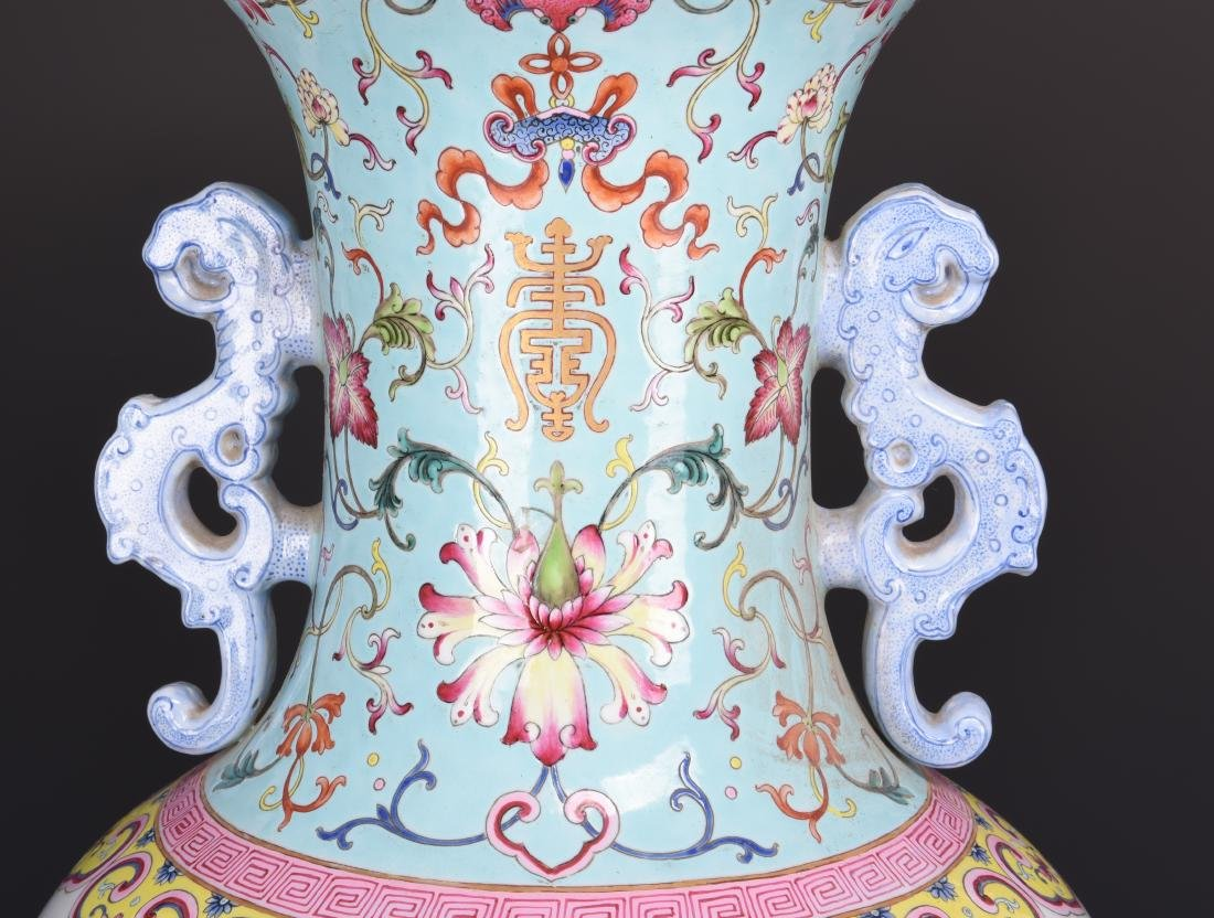 Famille Rose Porcelain  Vase with Mark - 3