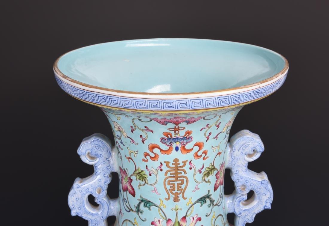 Famille Rose Porcelain  Vase with Mark - 4