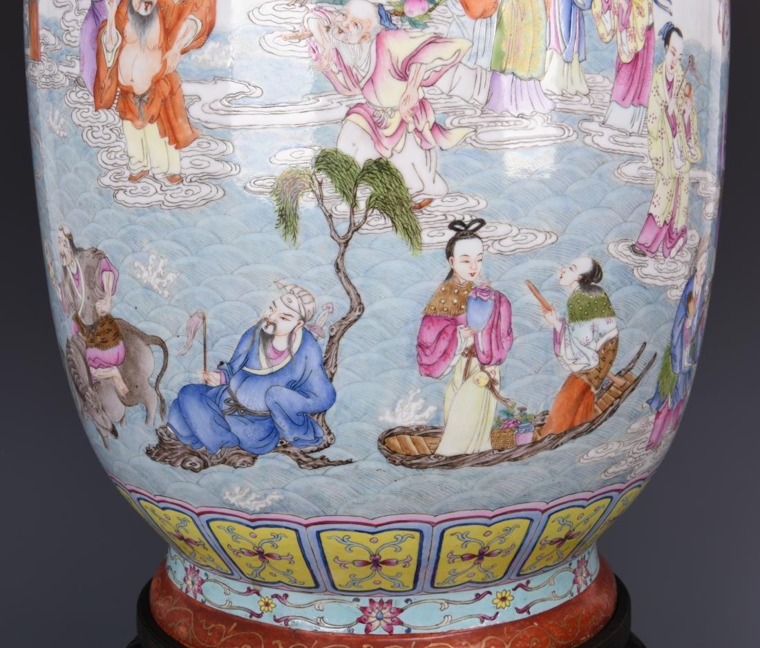 Famille Rose Porcelain  Vase with Mark - 8