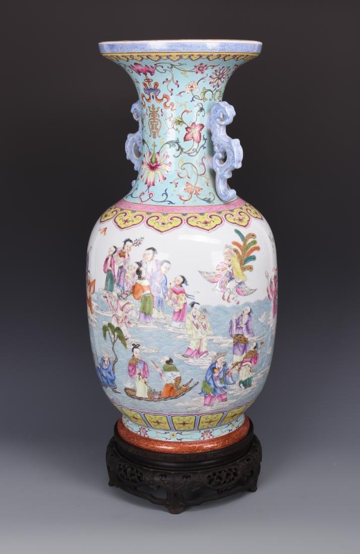 Famille Rose Porcelain  Vase with Mark - 9