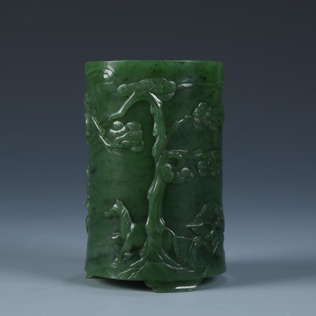 Green Jade Brush Pot
