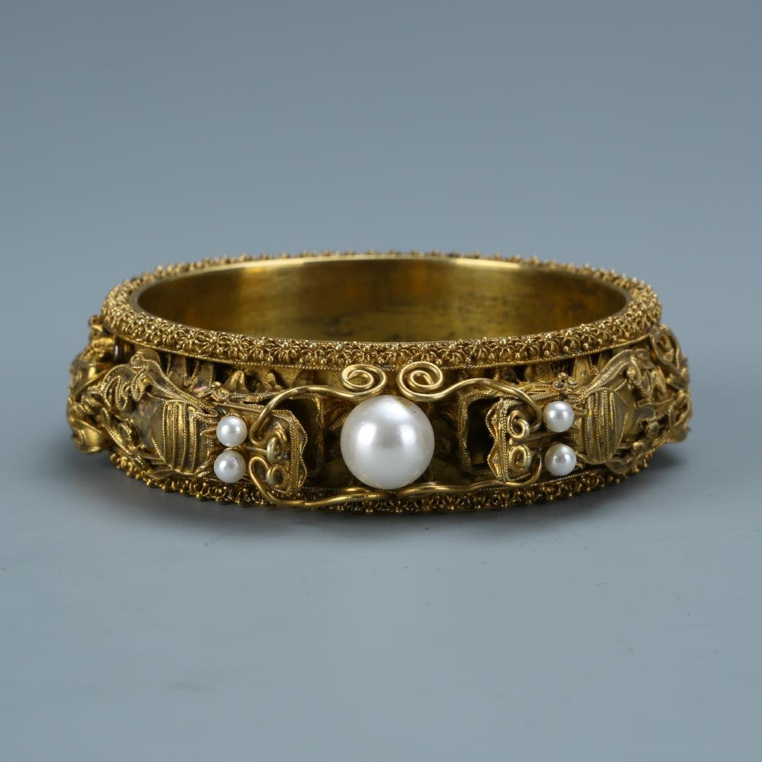 Gilt Silver & Pearl Dragon Bracelet
