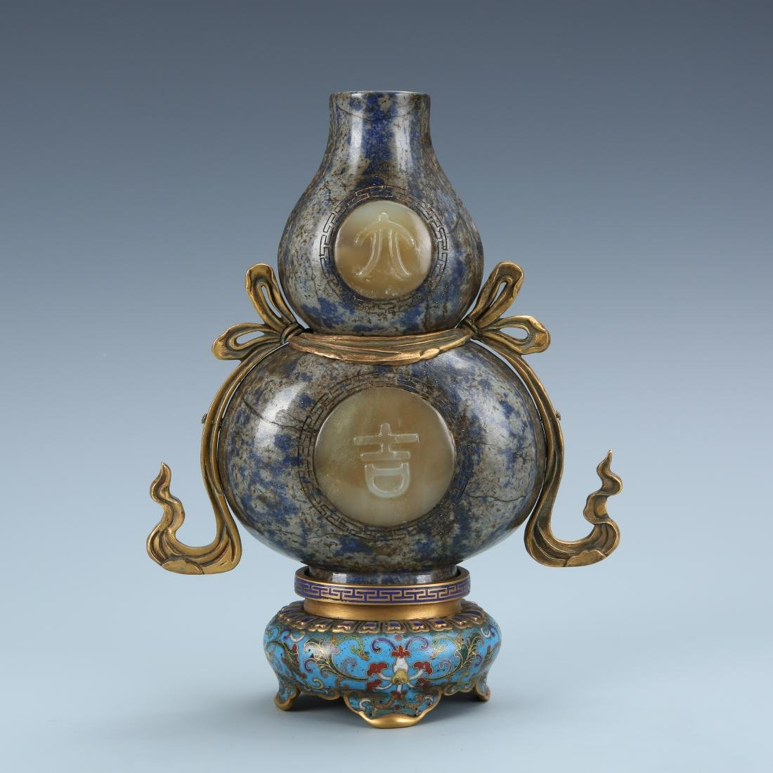 Lapis  Double Gourd Vase  Cloisonne Base with mark