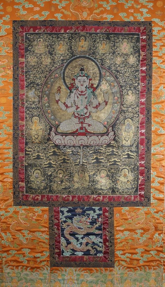Rare Magnificent Tibetan Thangka w/ Pearl and Coral