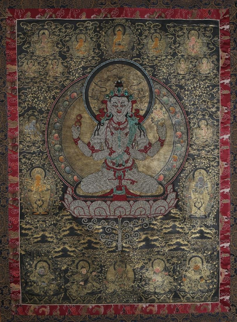 Rare Magnificent Tibetan Thangka w/ Pearl and Coral - 2