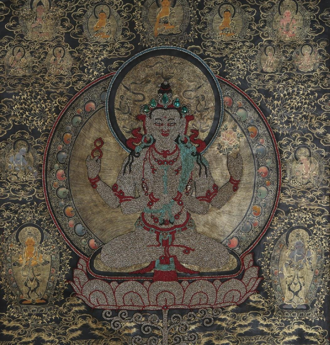 Rare Magnificent Tibetan Thangka w/ Pearl and Coral - 3