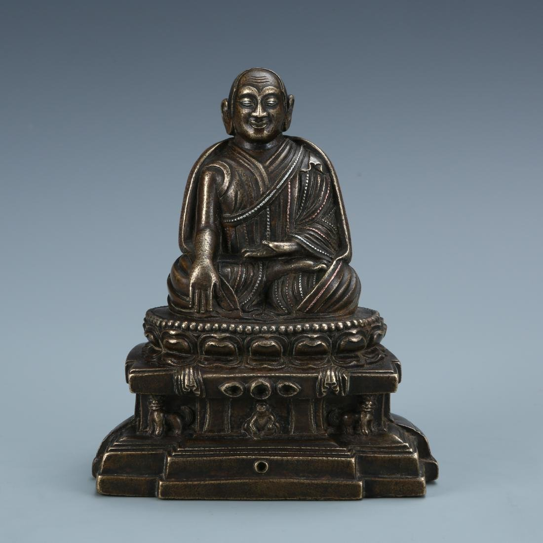 Red Bronze Figure of Buddha with Silver Inlay
