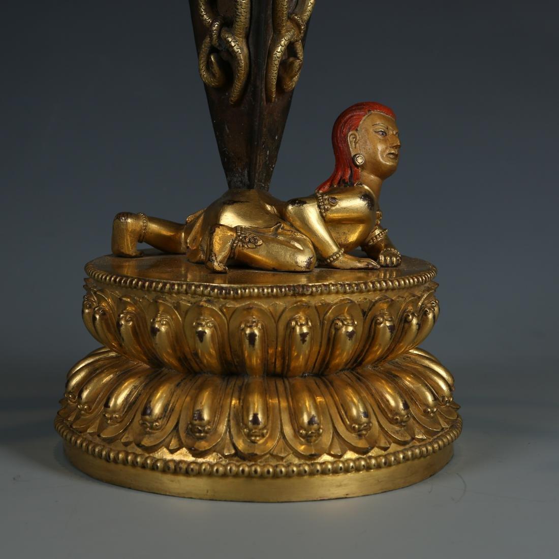 Gilt Bronze Figure of Mahakala - 4
