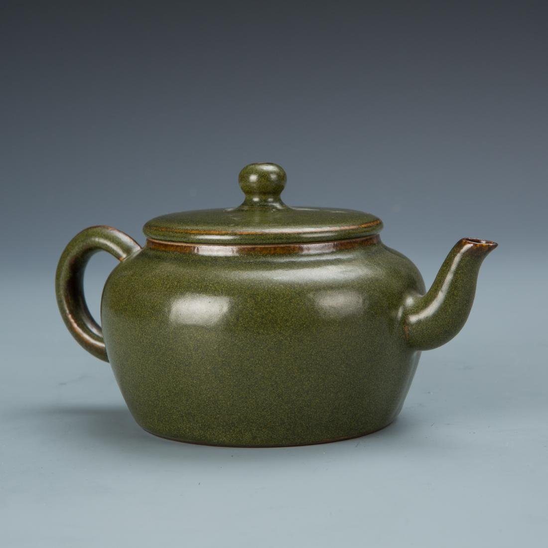 Green Glazed Porcelain Tea Pot with Mark - 2