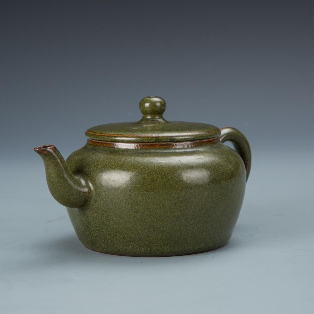 Green Glazed Porcelain Tea Pot with Mark - 3