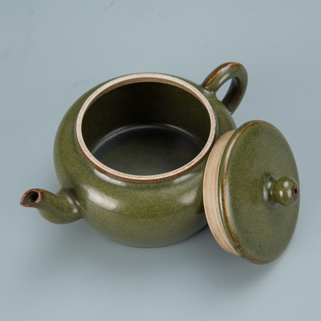 Green Glazed Porcelain Tea Pot with Mark - 4