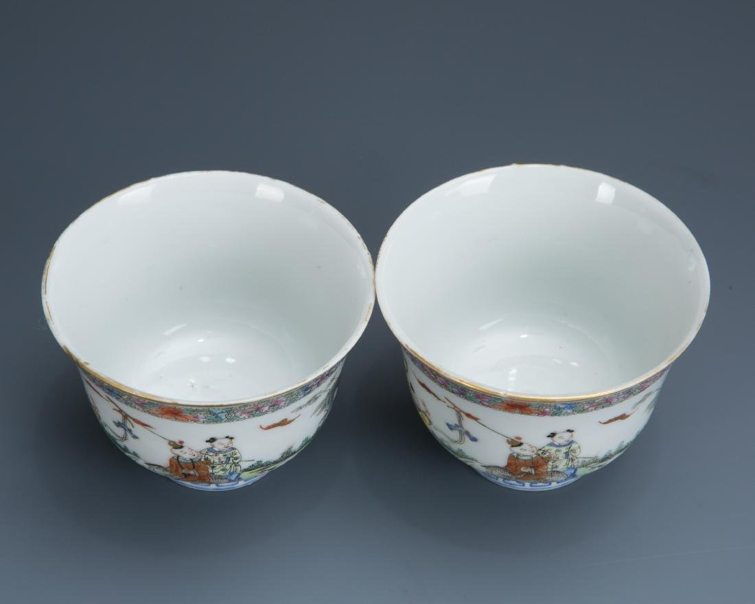 Pair Famille Rose Porcelain Tea Cups with Mark - 2