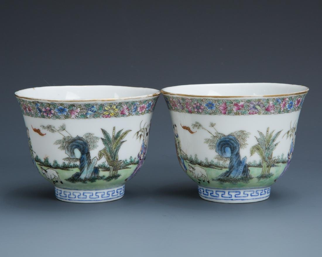 Pair Famille Rose Porcelain Tea Cups with Mark - 3