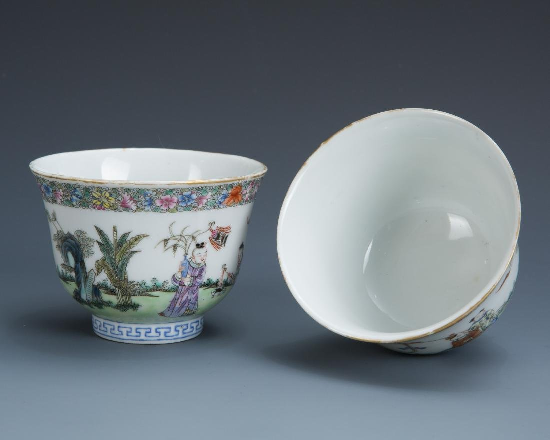 Pair Famille Rose Porcelain Tea Cups with Mark - 4
