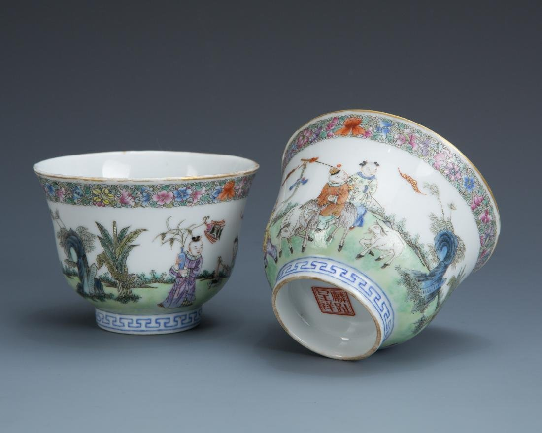 Pair Famille Rose Porcelain Tea Cups with Mark - 5