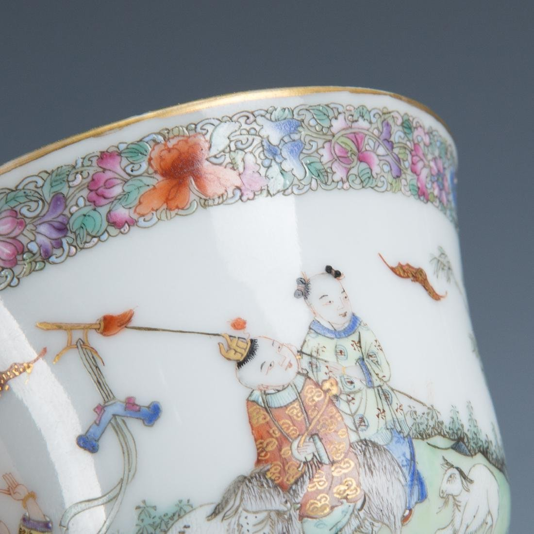 Pair Famille Rose Porcelain Tea Cups with Mark - 7