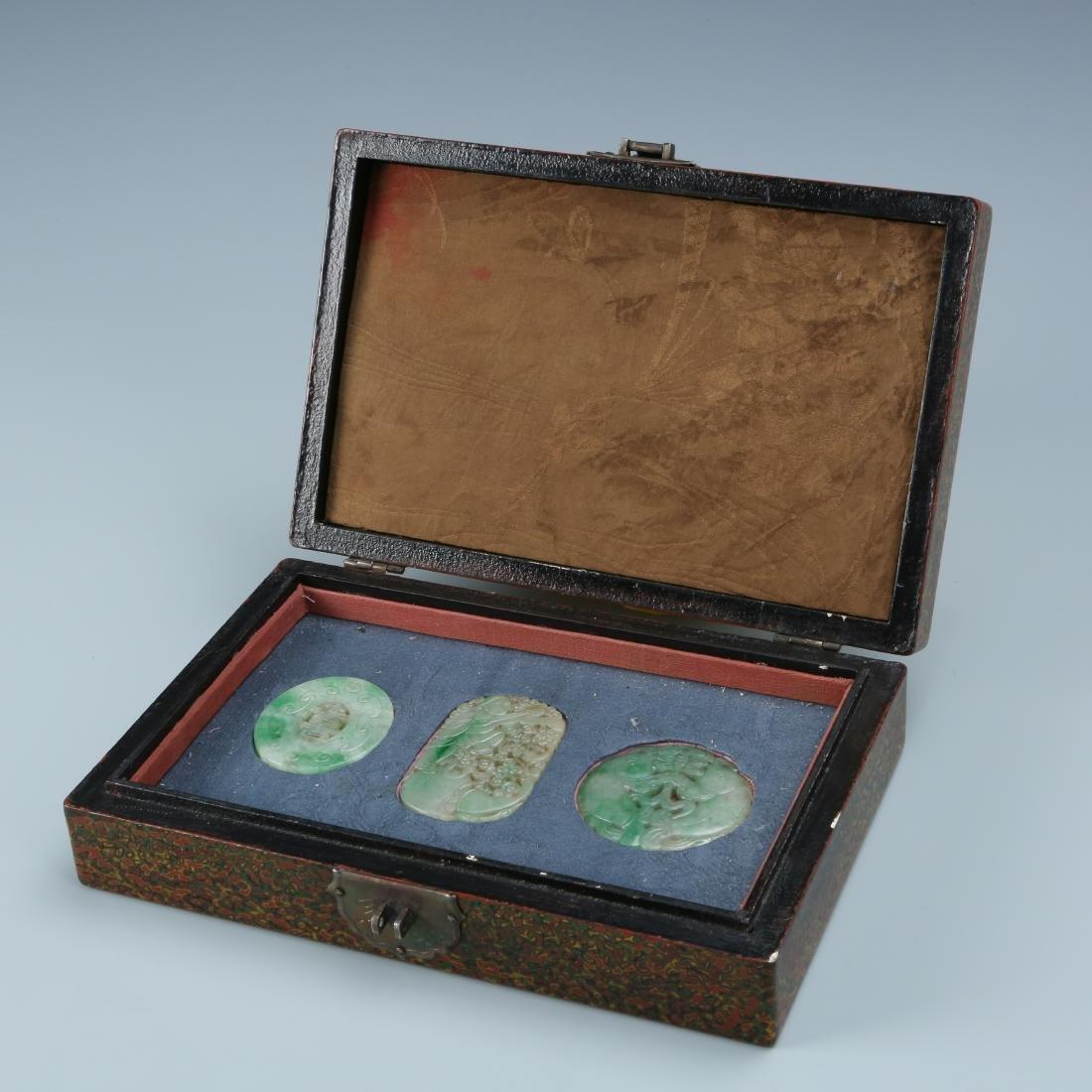 Three Jadeite Pendant in Display Box