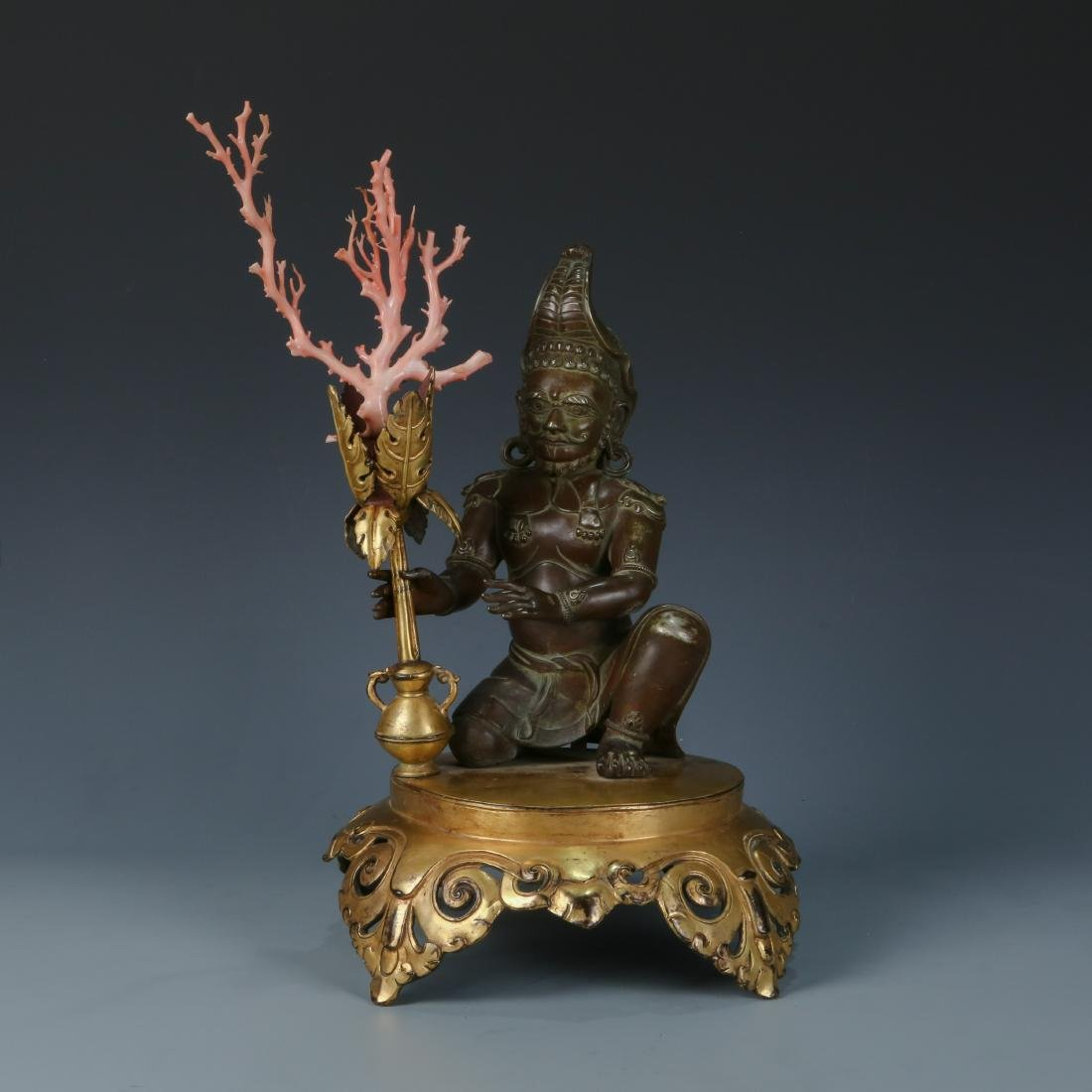 Gilt Silver Figure of Sea Guardian with Coral Trident