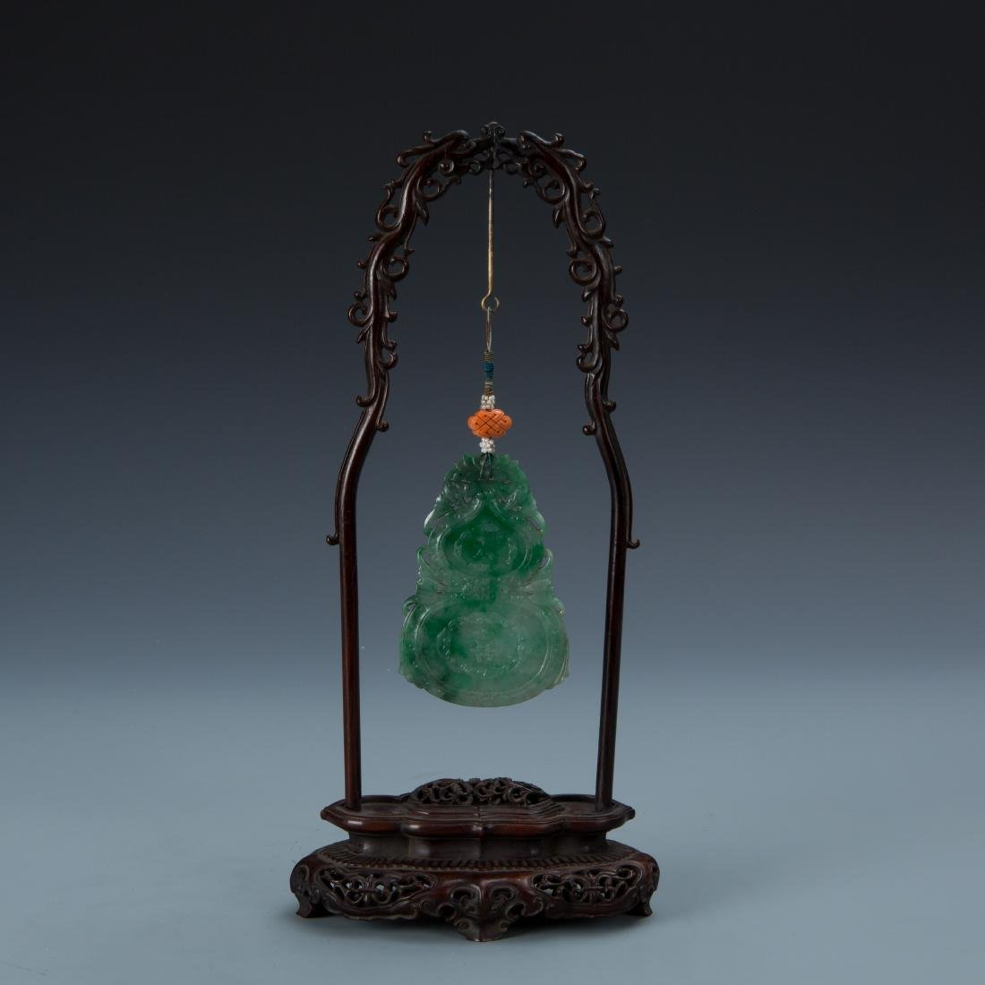 Double Gourd Jadeite Pendant with Coral and Pearl