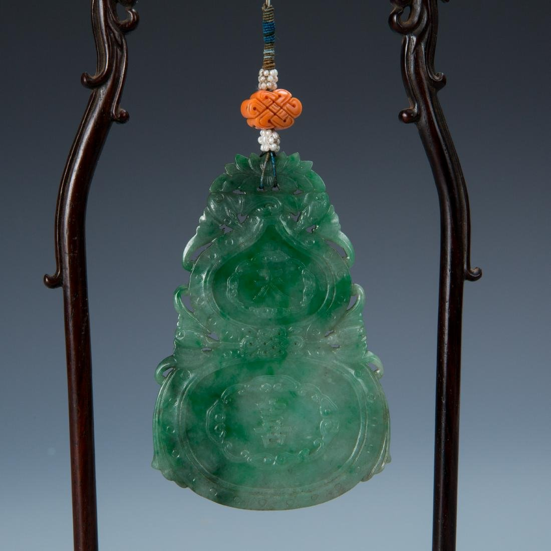 Double Gourd Jadeite Pendant with Coral and Pearl - 2