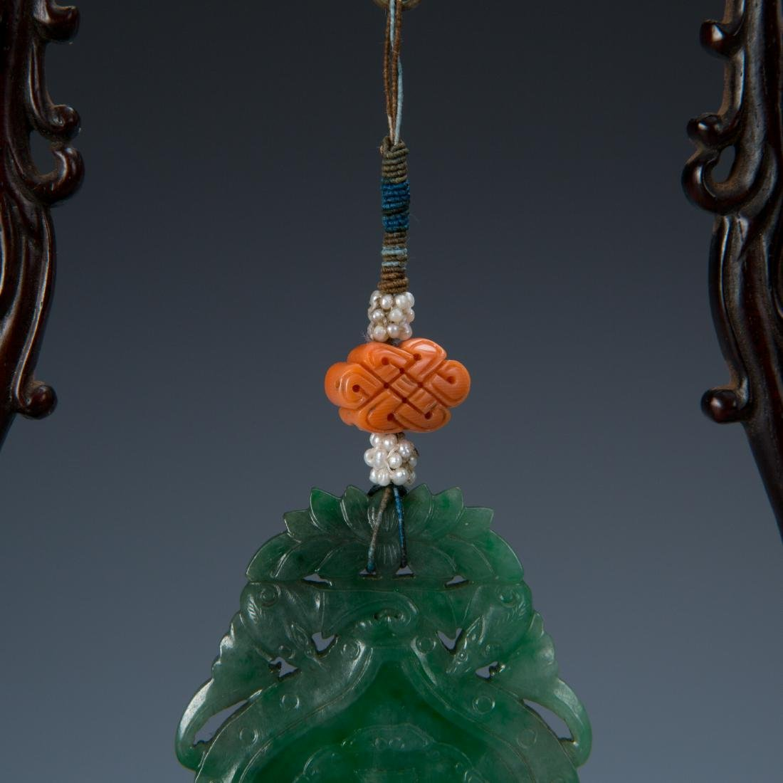 Double Gourd Jadeite Pendant with Coral and Pearl - 3