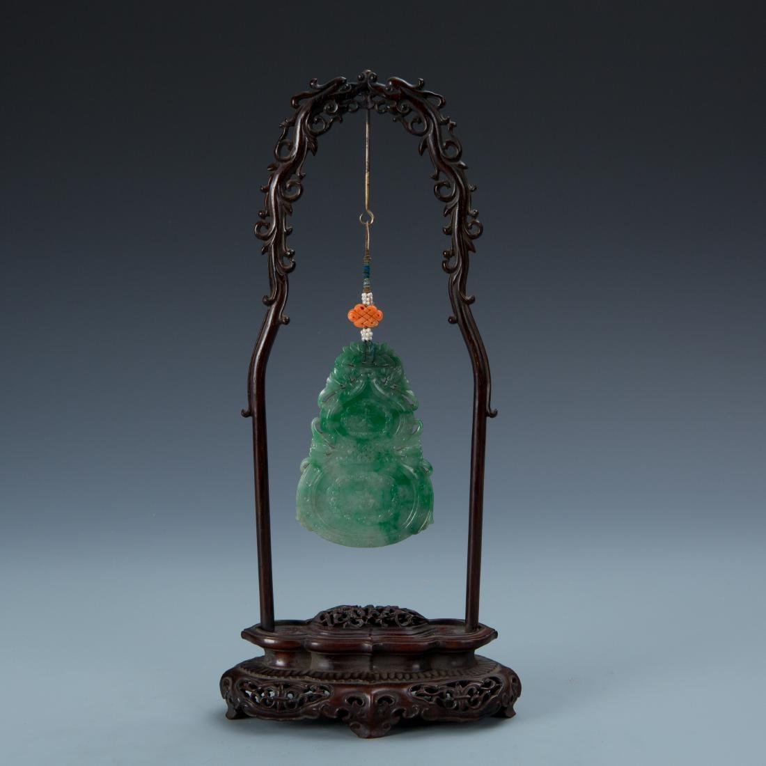Double Gourd Jadeite Pendant with Coral and Pearl - 6