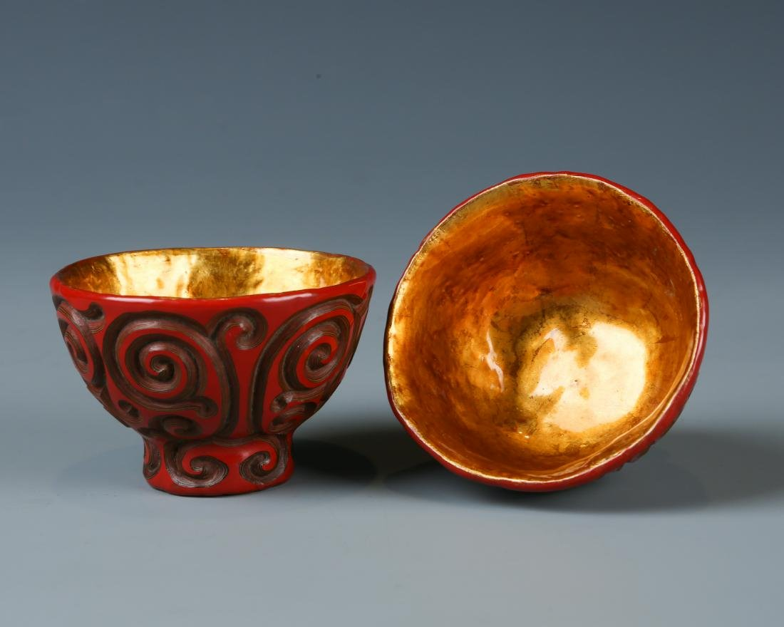 Two Tixi Design Cinnabar Cups - 3