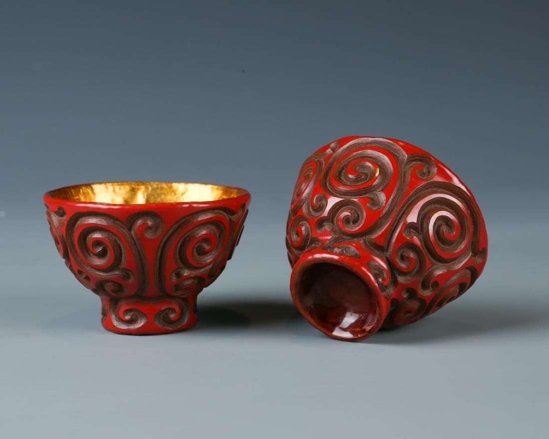 Two Tixi Design Cinnabar Cups - 4