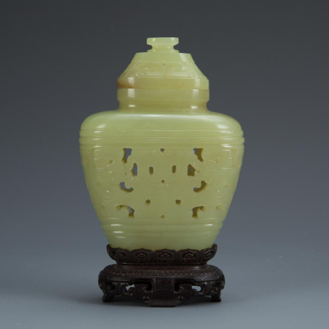 Carved Jade Jar with Cover